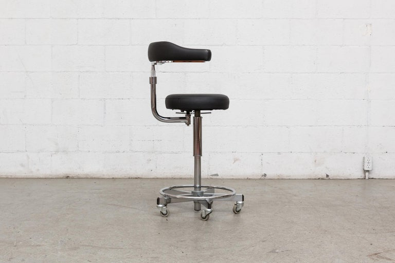 Mid-Century Modern German Rolling Task Stool For Sale