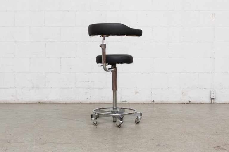 German Rolling Task Stool In Good Condition For Sale In Los Angeles, CA