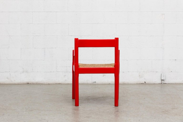 Painted Vico Magestretti 'Carimate' Rush Armchair For Sale