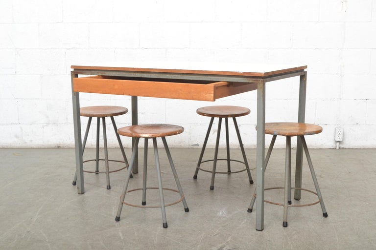 Mid-Century Modern Early Edition Marko Industrial Metal Table and Stool Set For Sale