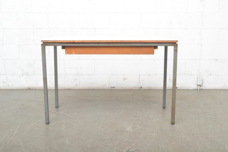 Early Edition Marko Industrial Metal Table and Stool Set In Fair Condition For Sale In Los Angeles, CA