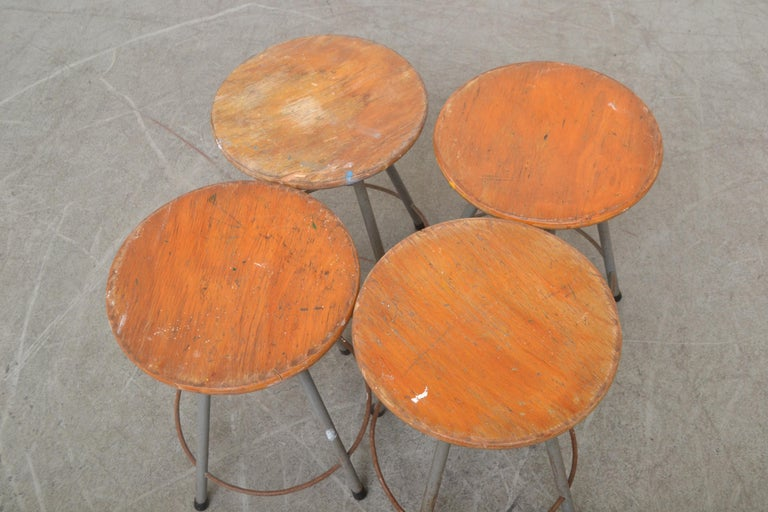 Steel Early Edition Marko Industrial Metal Table and Stool Set For Sale