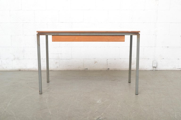 European Early Edition Marko Industrial Metal Table and Stool Set For Sale