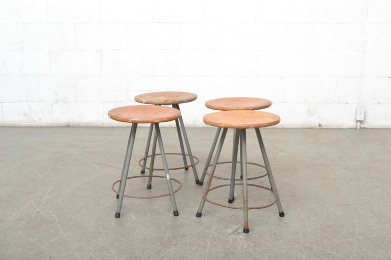Mid-20th Century Early Edition Marko Industrial Metal Table and Stool Set For Sale