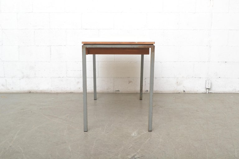 Enameled Early Edition Marko Industrial Metal Table and Stool Set For Sale
