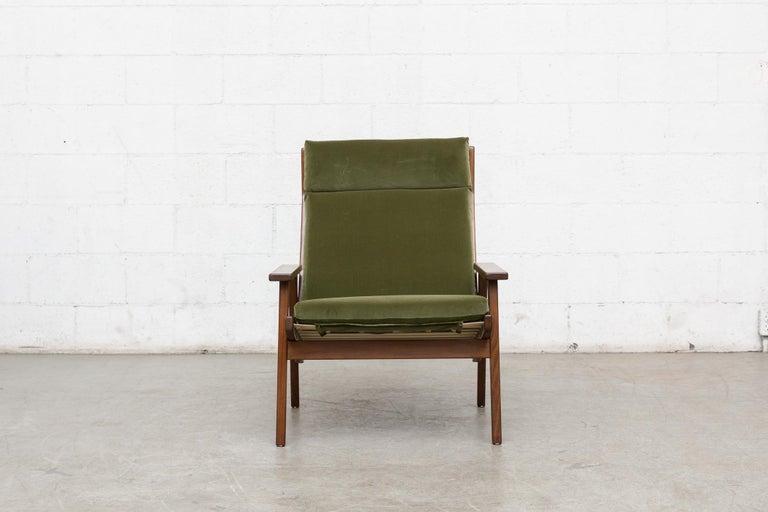 Mid-Century Modern Robert Parry Olive Velvet Lounge Chair For Sale