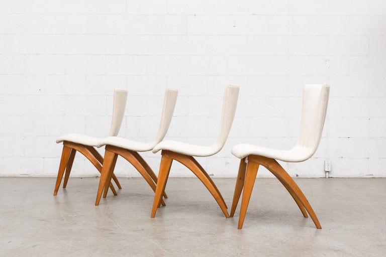 Mid-Century Modern Set of Four Van Os Dining Chairs in White For Sale