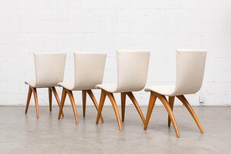 European Set of Four Van Os Dining Chairs in White For Sale