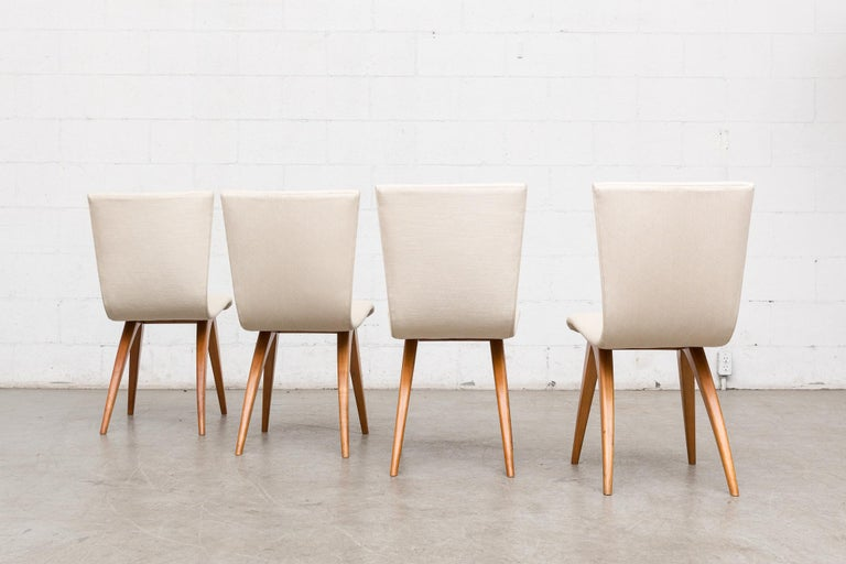 Set of Four Van Os Dining Chairs in White In Good Condition For Sale In Los Angeles, CA