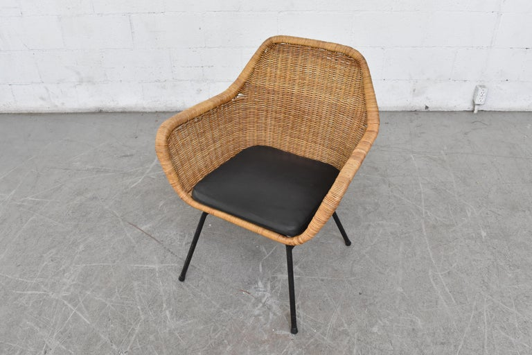 Mid-20th Century Jaques Adnet Style Midcentury Rattan Bucket Chair For Sale