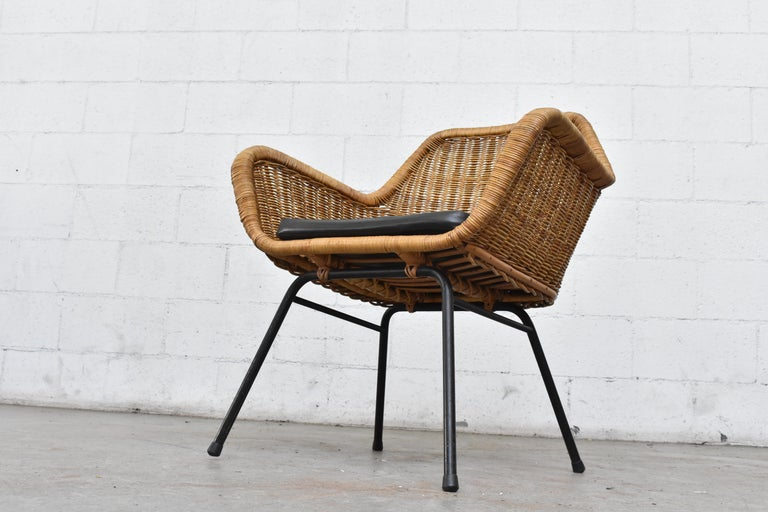 Metal Jaques Adnet Style Midcentury Rattan Bucket Chair For Sale