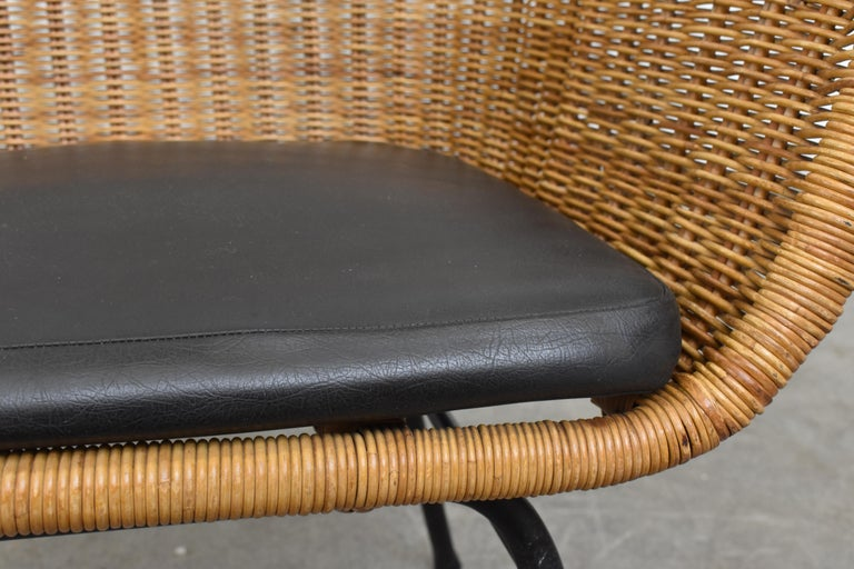 Jaques Adnet Style Midcentury Rattan Bucket Chair For Sale 2
