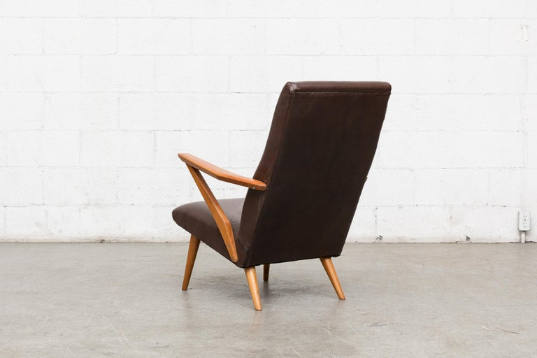 Dutch Original Leather Lounge Chair with Pecan Frame For Sale