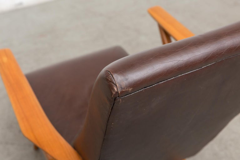 Mid-20th Century Original Leather Lounge Chair with Pecan Frame For Sale