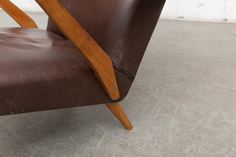 Original Leather Lounge Chair with Pecan Frame For Sale 3