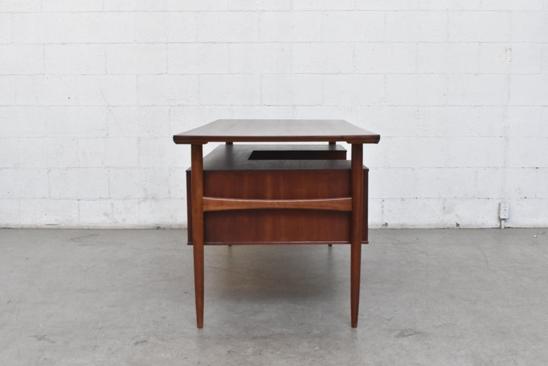 William Watting Style Midcentury Teak Desk In Good Condition For Sale In Los Angeles, CA