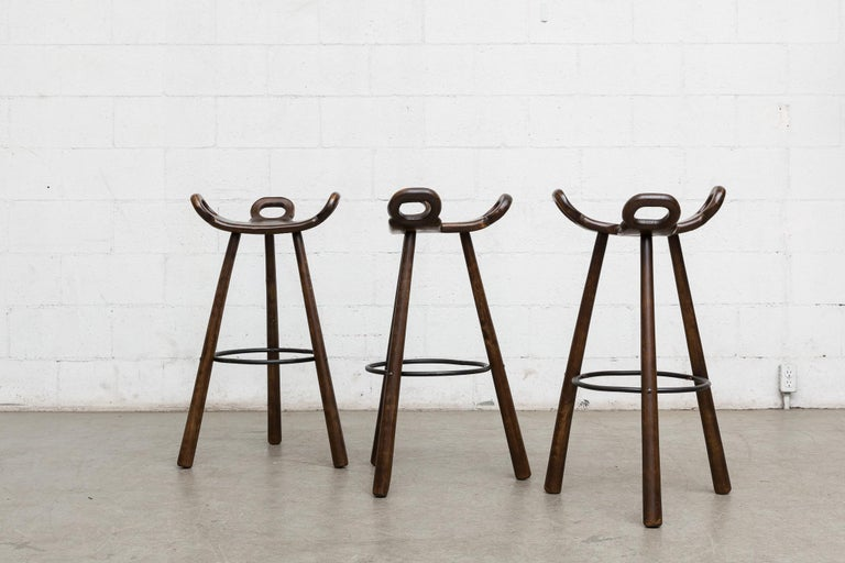 Mid-Century Modern Set of 3 Sergio Rodriguez Style Dark Spanish 'Marbella' Bar Stools For Sale