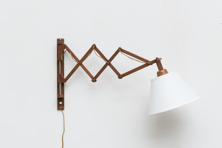 Mid-20th Century Midcentury Wood Accordion Wall Mount Lamp For Sale