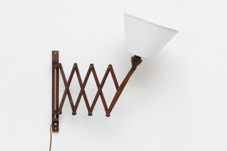 Dutch Midcentury Wood Accordion Wall Mount Lamp For Sale