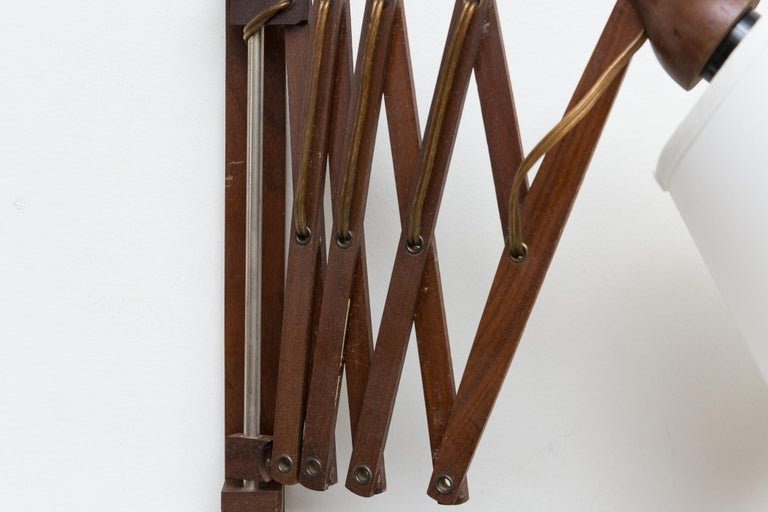 Midcentury Wood Accordion Wall Mount Lamp For Sale 1