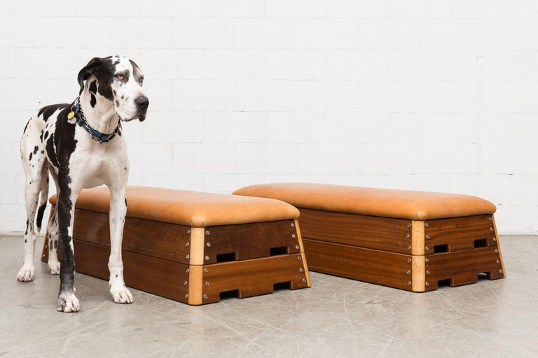 Dutch gymnastics vault transformed into a multi purpose ottoman-bench-coffee table in teak and oak with new leather top. Two-tiered stackable. Removable top, can be used as blanket or toy storage. No bottom installed. The wood frames are in very