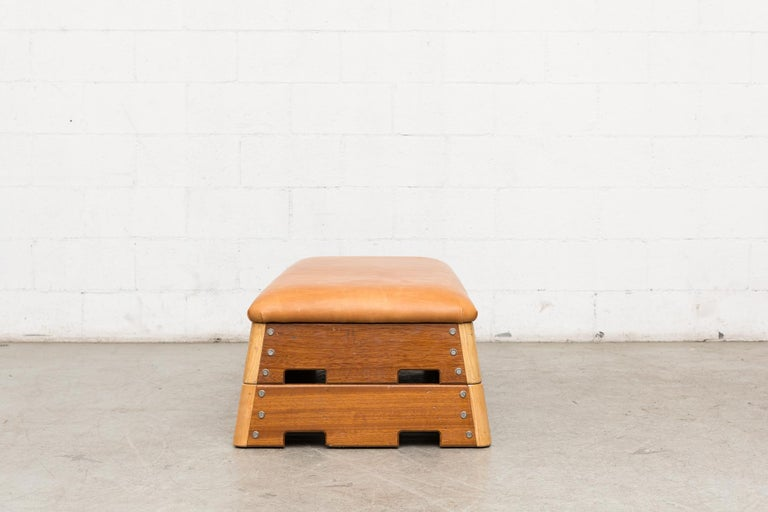 Leather Vintage Dutch Gymnastics Bench For Sale