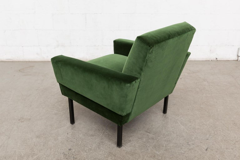 Velvet Pair of 'Mad Men' Style Lounge Chairs For Sale