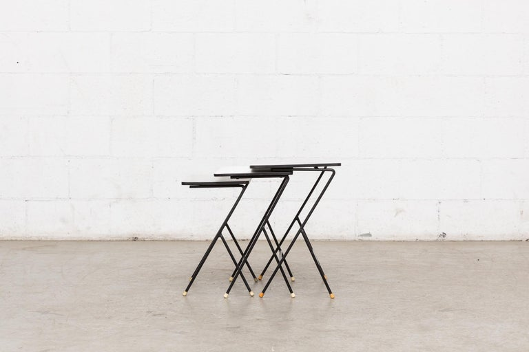Mategot Inspired Nesting Tables In Fair Condition For Sale In Los Angeles, CA
