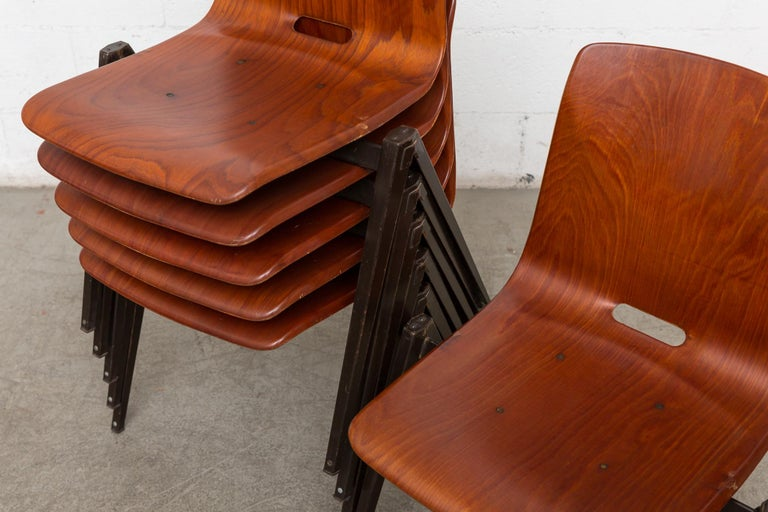 Set of 8 Prouve Style Stacking Chairs In Good Condition For Sale In Los Angeles, CA