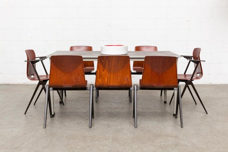 Mid-Century Modern Set of 8 Prouve Style Stacking Chairs For Sale