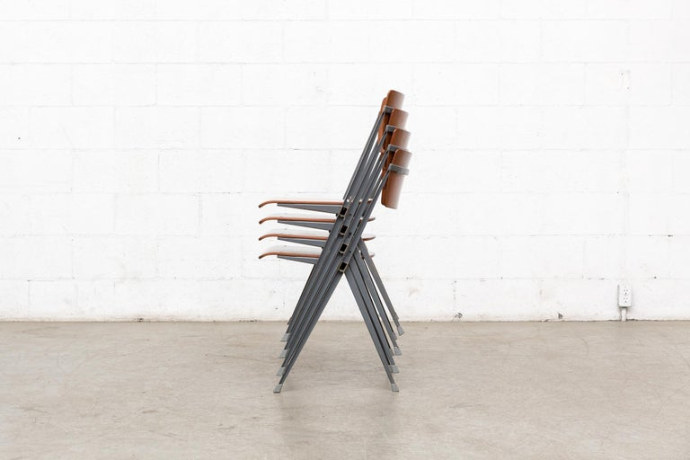 Mid-Century Modern Rare Set of 4 Rietveld ''Pyramid'' Chairs for Ahrend the Cirkel For Sale