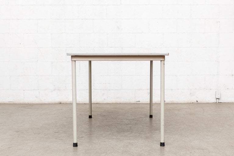 Mid-Century Modern Gispen Dutch Industrial Metal Dining or Conference Table For Sale