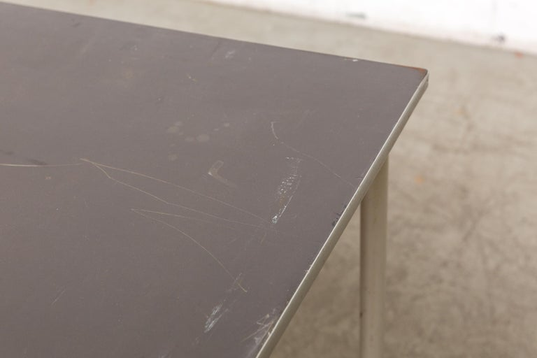 Mid-20th Century Gispen Dutch Industrial Metal Dining or Conference Table For Sale