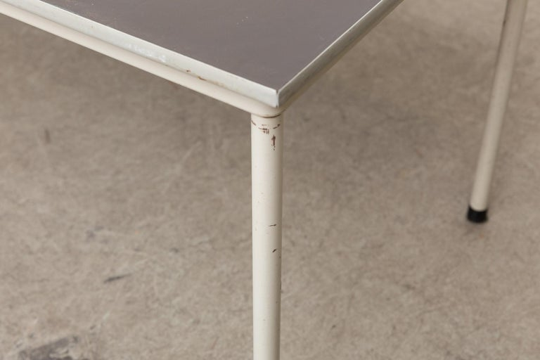 Gispen Dutch Industrial Metal Dining or Conference Table For Sale 1