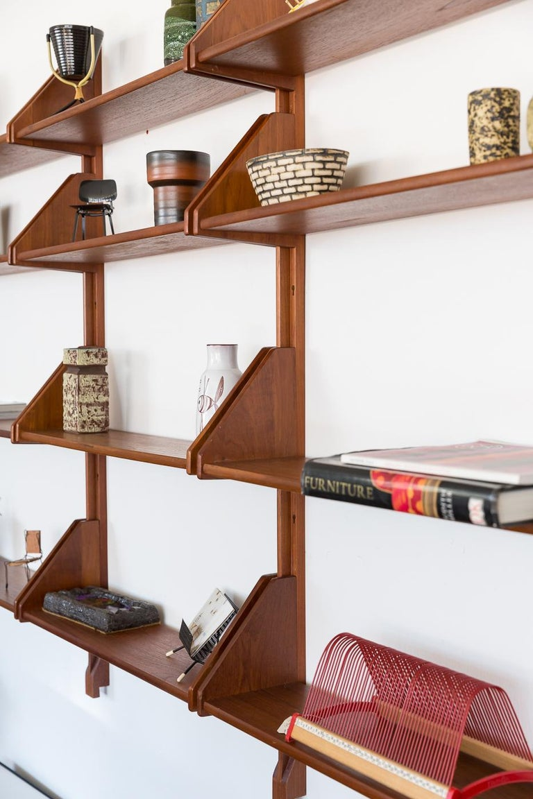 Danish Teak Wall Mount Shelving Unit In Good Condition For Sale In Los Angeles, CA
