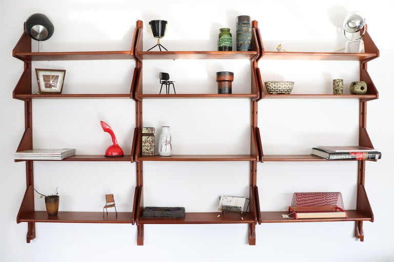 Mid-Century Modern Danish Teak Wall Mount Shelving Unit For Sale