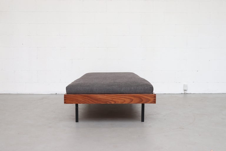 Mid-Century Modern Teak Daybed with Grey Mattress For Sale