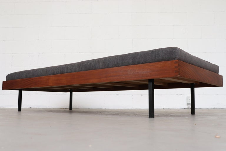 Teak Daybed with Grey Mattress In Good Condition For Sale In Los Angeles, CA