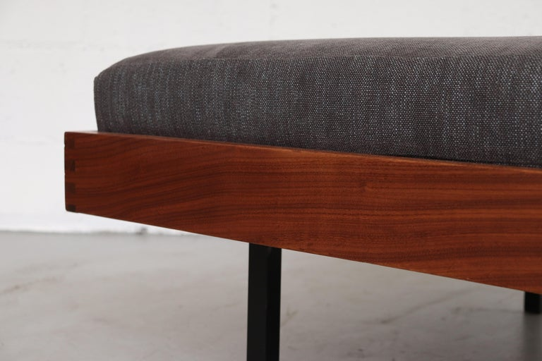 Upholstery Teak Daybed with Grey Mattress For Sale