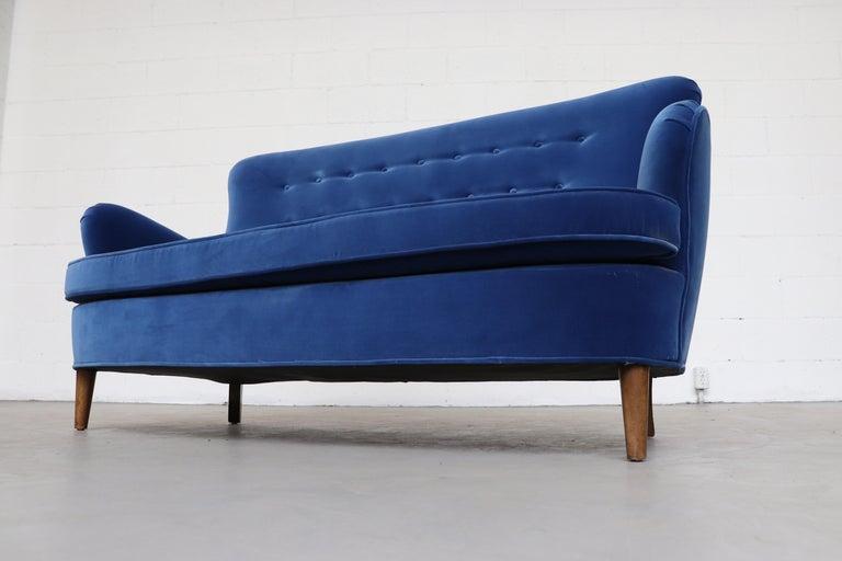 Velvet Theo Ruth Cobalt Blue Sofa by Artifort For Sale