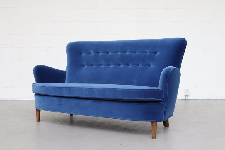 Theo Ruth Cobalt Blue Sofa by Artifort For Sale 10