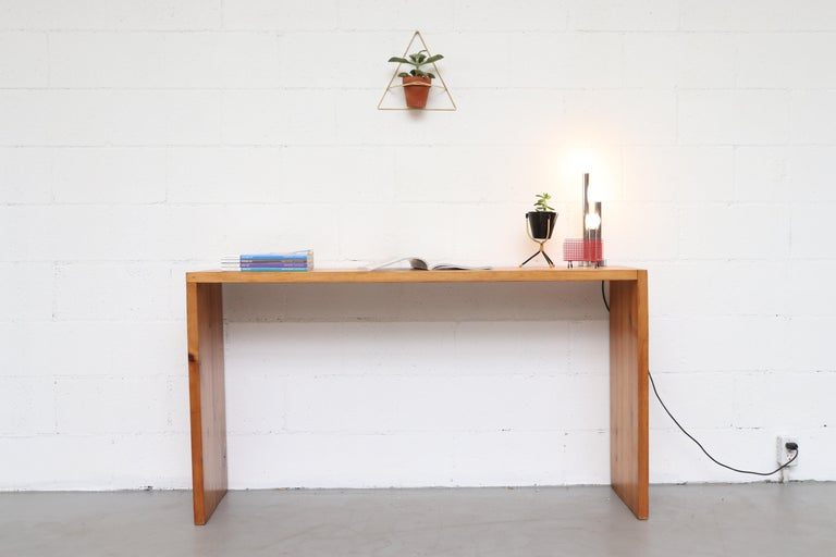 Ate Van Apeldoorn pine console or entry table. Lightly refinished. Simple signature Design. Good original condition.