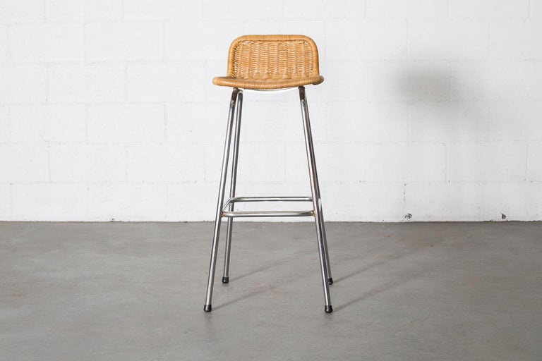 Mid-Century Modern Charlotte Perriand Style Wicker Bar Stools For Sale