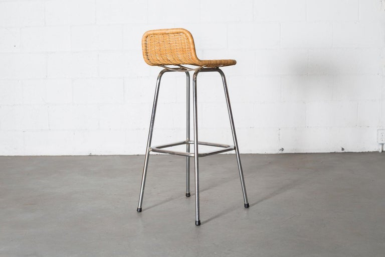 Charlotte Perriand Style Wicker Bar Stools In Good Condition For Sale In Los Angeles, CA