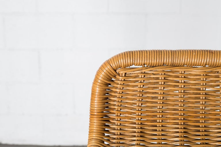 Rattan Charlotte Perriand Style Wicker Bar Stools For Sale