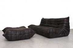 Ligne Roset 'TOGO' Matte Black Leather 3 Seater Sofa with Ottoman