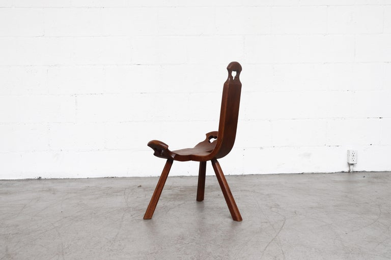 Spanish Brutalist Wood Lounge Chair For Sale