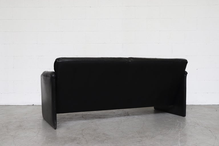 Dutch Leolux 'Bora Bora' Black Leather Sofa For Sale