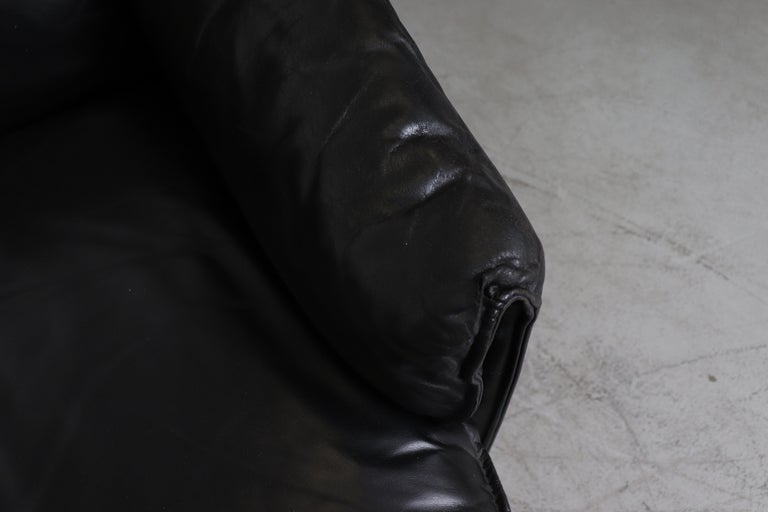 Leolux 'Bora Bora' Black Leather Sofa For Sale 3