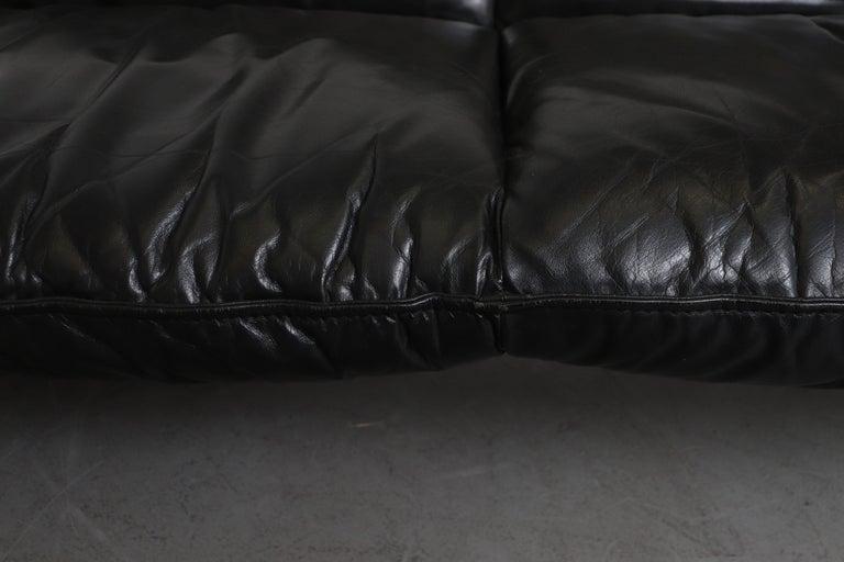 Leolux 'Bora Bora' Black Leather Sofa For Sale 7